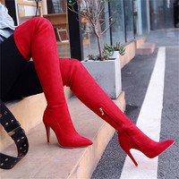 Fashion Winter Thigh High Stretch Boots Suede Leather Side Zipper UP Over The Knee Boots Classic High Heels Shoes Women 2018
