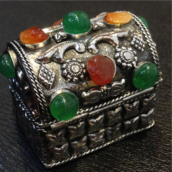 Beautiful Tibetan Silver Jewelry Box, Nepal, Inlaid Jewelry, Gem Storage Box,  Classical,