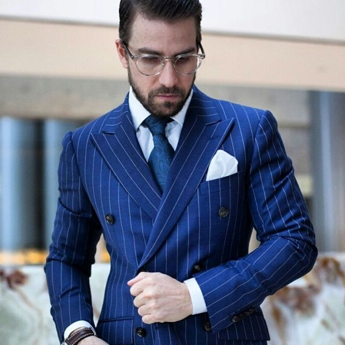 a few days away new style of 2019 new cheap US $91.73 5% OFF|Double Breasted Royal Blue Stripe Men Suit For Wedding  Suit Men With Pants Navy Blue Tuxedo Slim Fit Pinstripe Blazer Men  Jacket-in ...
