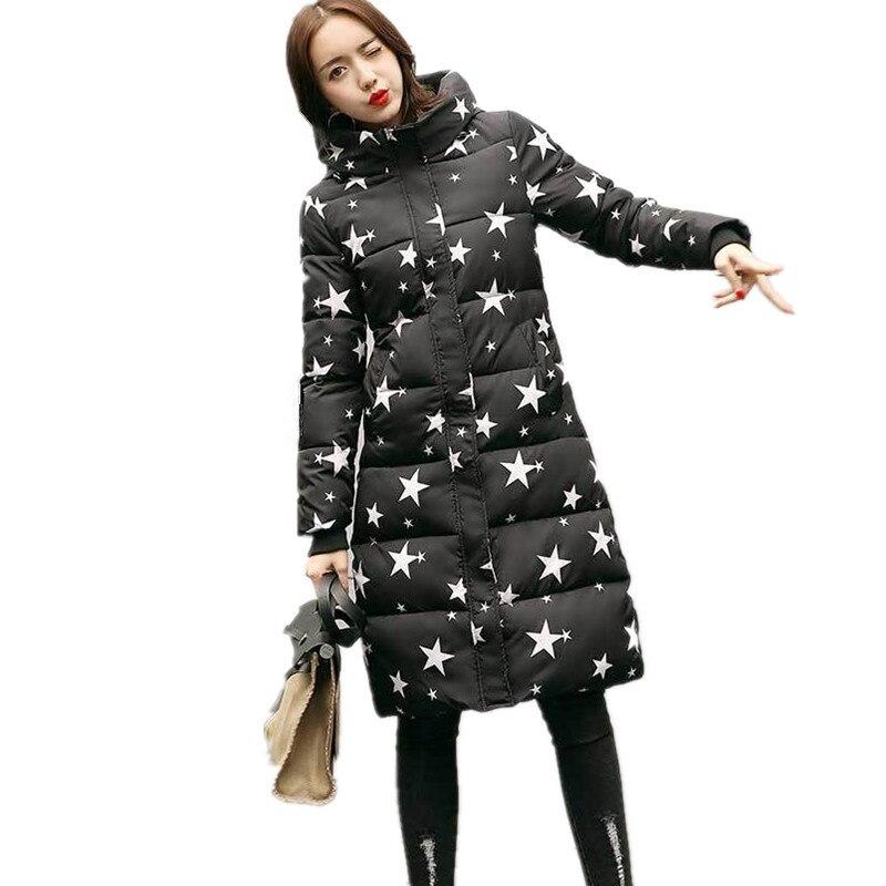 Gedruckt Lange Dick Gepolsterte Hohe Qualität Baumwolle Frauen Mantel Mode Mit Kapuze Große Größe Parka Mode Wadded Frauen Jacke TT3264