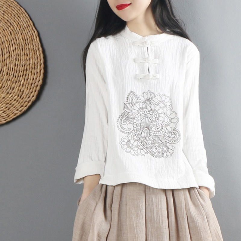 Traditional Chinese shirt long sleeve mandarin collar blouses female zen clothing white cotton linen blouse AA4617 Рубашка