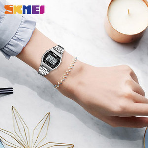 Image 3 - SKMEI Dames Fashion Horloges Outdoor Sport Luxe Legering Digitale Horloge Bandje Business Relogio12/24 Uur Relogio Feminino Digitale