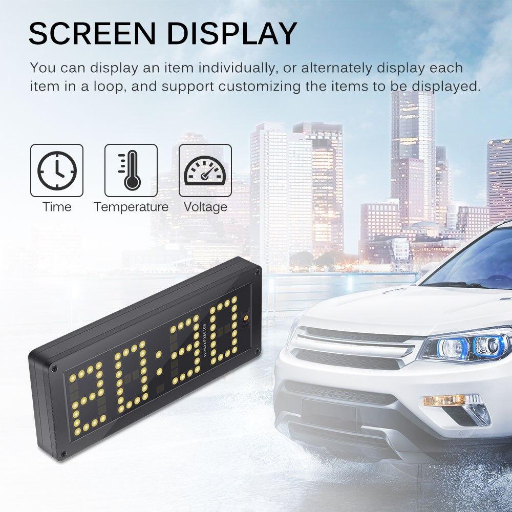 3 en 1 horloge LED tension Ajustable voiture horloge voiture électronique numérique thermomètre haute précision Rx8025 voltmètre lumineux
