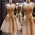 Real Image 2015 Gold Appliques Vestido De Festa Short Homecoming Dresses High Neck SleevelessBow Formal Party Gowns