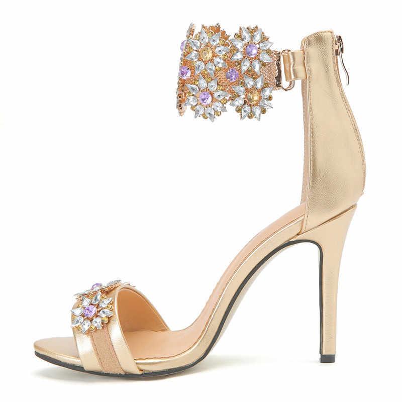 bc25465306464 ... Mstacchi Sweet Gold Ankle Strap Stiletto Heels Women Sandals Summer  Peep Toe High Heels Wedding Shoes ...