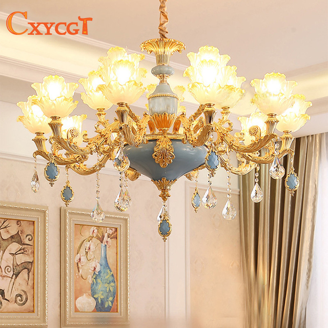 Modern gold crystal ceiling chandelier lighting for living room modern gold crystal ceiling chandelier lighting for living room bedroom wedding decoration lamp lotus hanging suspension junglespirit Image collections