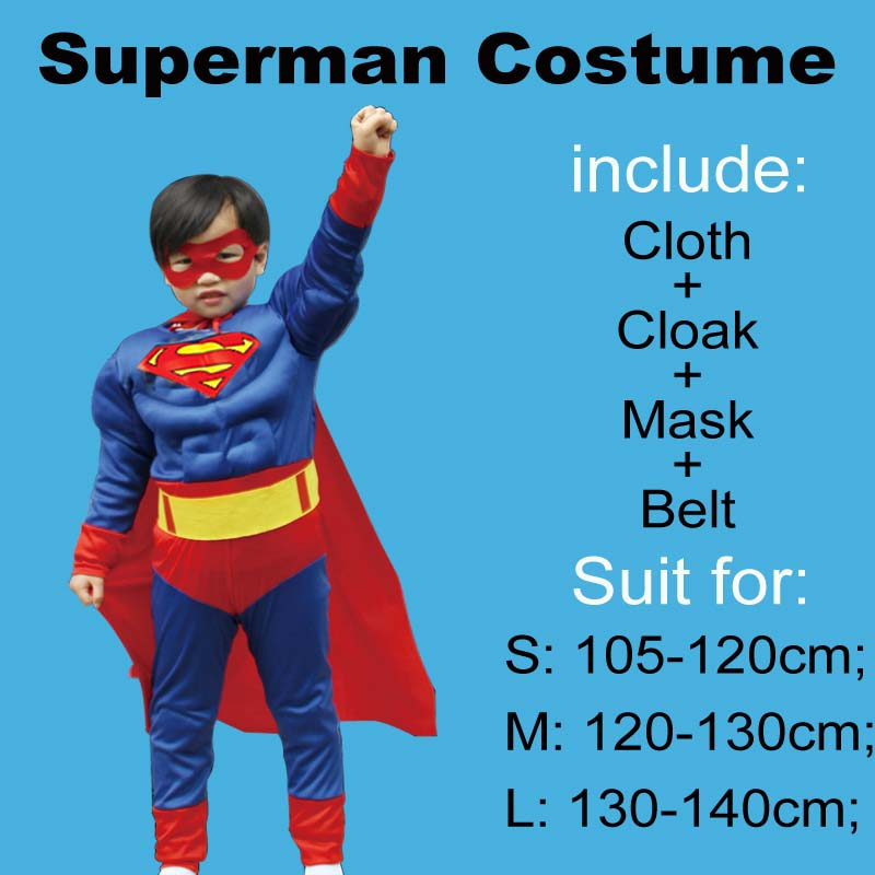 Kids Cospaly Deluxe Muscle Superman Costume Halloween Party Muscle Christmas Superman For Boys Girls Full Body Superman Suit (15)