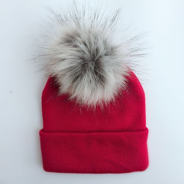 208430d15da 2018 spring winter colorful rainbow faux fur pom pom hat for girls raccoon  faux fur pompom