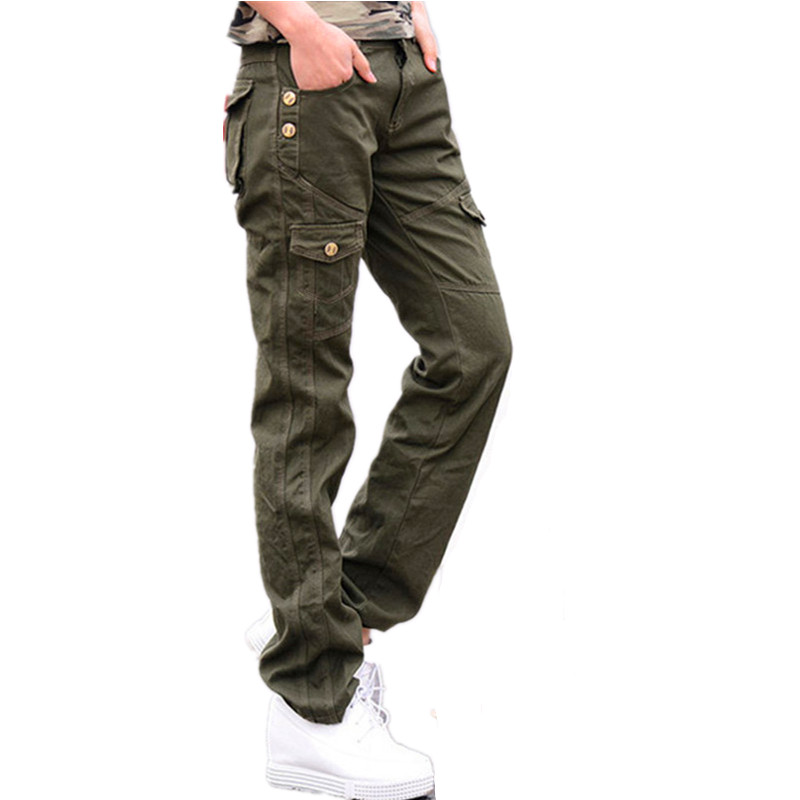 femmes militaires coton cargo pantalon dames printemps pantalon
