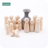 Bopoobo 40pc Girls Peg Dolls Solid Hardwood Natural Unfinished Turnings-Ready For Paint or Stain-Waldorf Wooden People Block