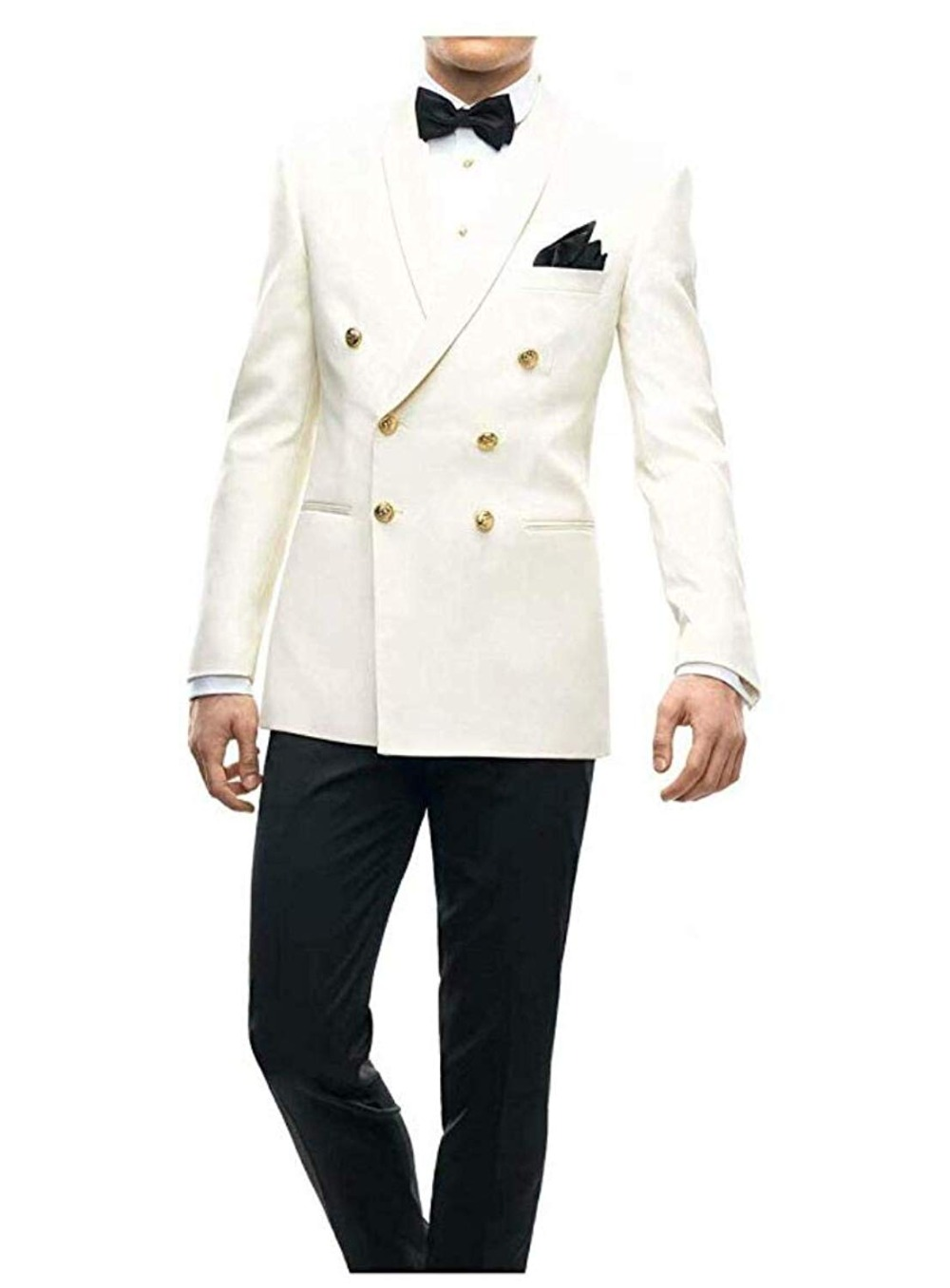 New Ivory Men Suits Double Breasted Blazer Wedding Suits Terno Masculino Smoking 2 Pieces Slim Fit  Jacket Tuxedos With Pants