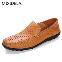 New Fashion Men Leather Flats High Quality Men Loafers Summer Men Driving Shoes Breathable Hollow Casual