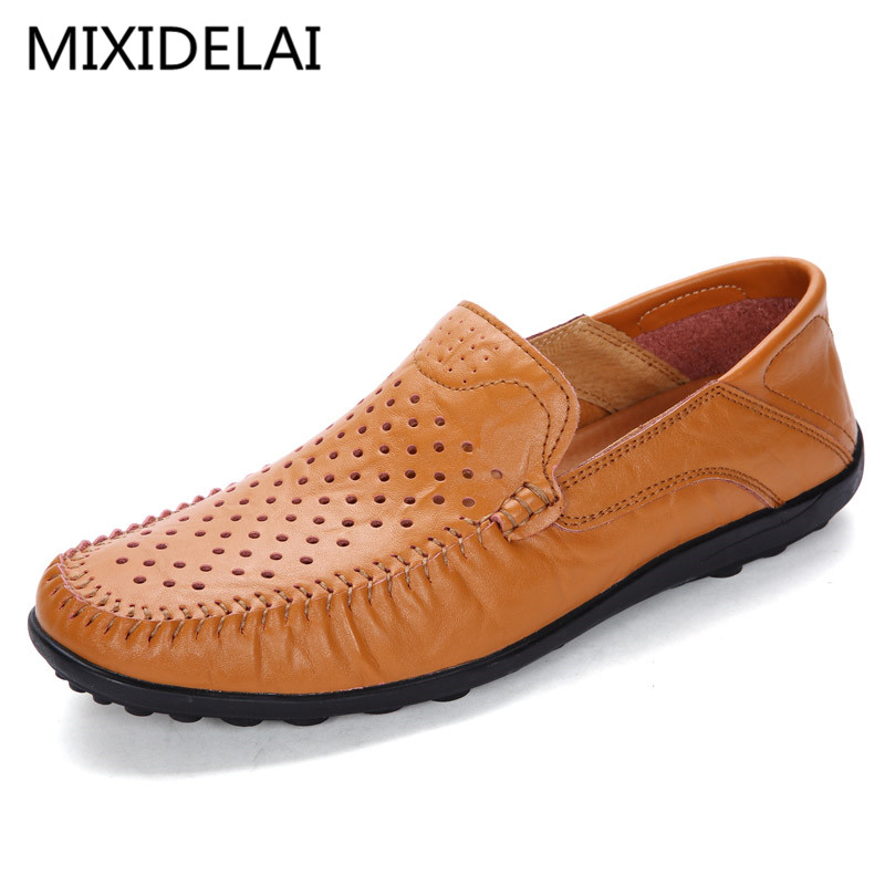 New Fashion Men Leather Flats High Quality Men Loafers Summer Men Driving Shoes Breathable Hollow Casual Shoes Big Size 38-45