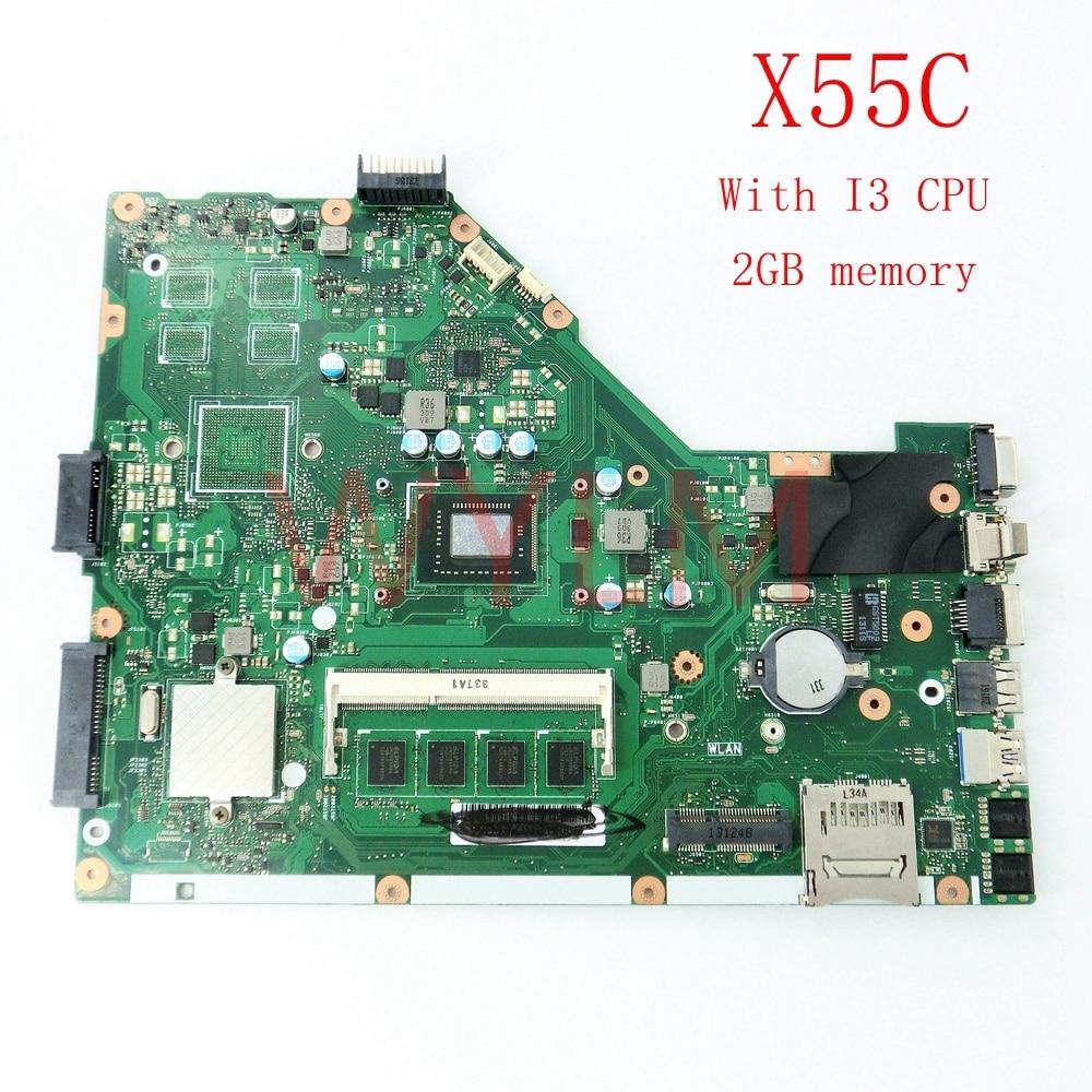 X55C avec I3 CPU 2 GB RAM carte mère de mémoire pour ASUS X55C X55CR X55V X55VD ordinateur portable carte mère testé travail
