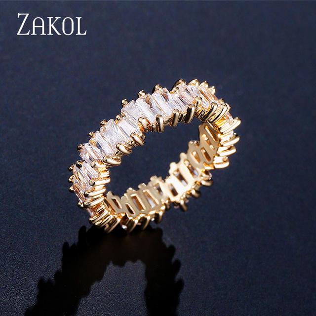 ZAKOL NEW Fashion Luxury Charm AAA Baguette Cubic Zirconia Wedding Ring for Women Cz Party Wedding Jewelry Free Shipping FSRP252