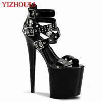 Women S Shoes Fashion 20cm Punk High Heels Rivets Gladiator Sandals 8 Inch Platforms Buckle Pole