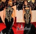 2016 Hot Sexy Beyonce MET Gala Negro Y Oro Bordado Con Cuentas Sirena Vestidos de La Celebridad Vestidos de Noche Vestidos de Baile Por Encargo