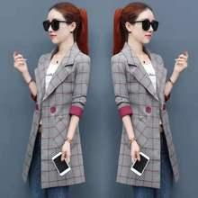 Весенне-осенний женский клетчатый блейзер с длинным рукавом и пальто в Корейском стиле, Повседневная Женская Длинная Верхняя одежда, офисный Блейзер, куртка