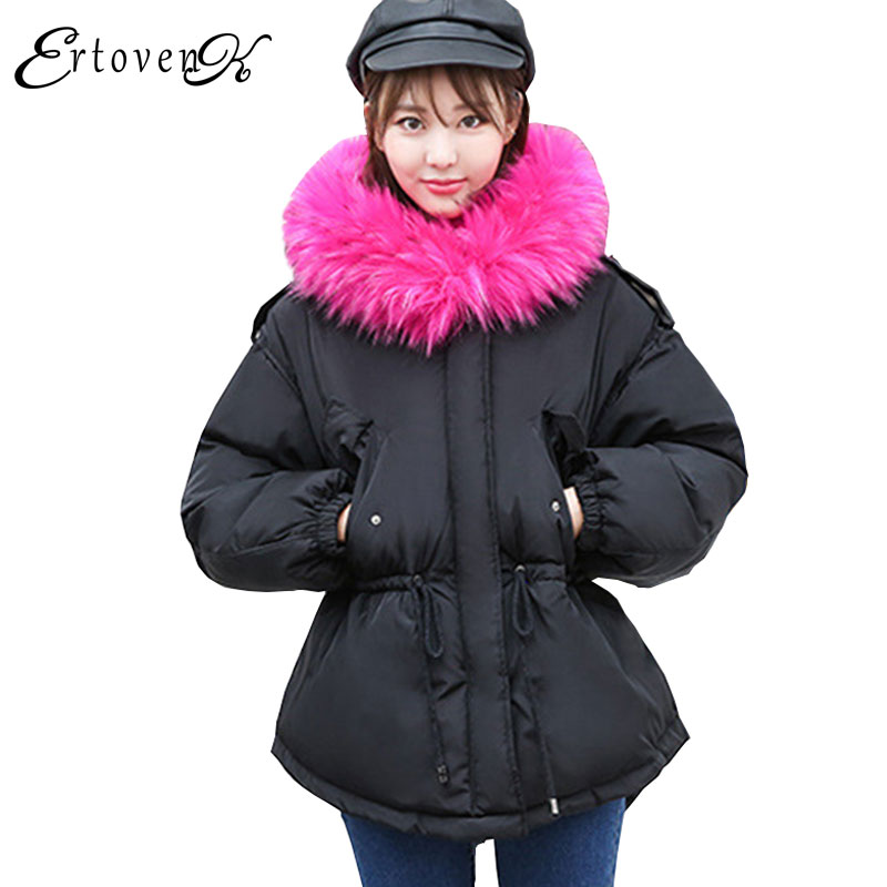 Feather Padded Plus size Outerwear Women Hooded big Fur collar Coat 2017 Parkas Winter New Female Keep warm Thicker OvercoatC101 big fur collar hooded slim cotton coat 2017 winter new parkas women thick overcoat plus size female feather padded outerwearc147