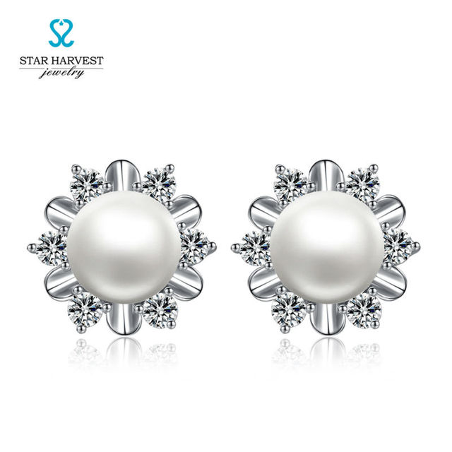 Star Harvest Freshwater Pearl Earrings 925 Silver Ms