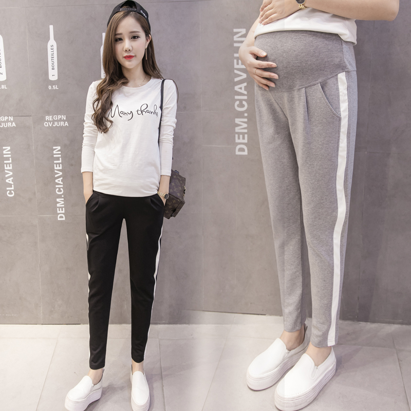 1590.0¥ 12% OFF 063# 2020 Autumn Spring Maternity Sport Pants Elastic Waist Belly Casual Trousers C...