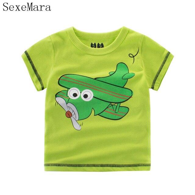 ec2e3e9449 100% Niños Del Verano Del Algodón camiseta Para Bebé Niños de Aviones de la  Historieta