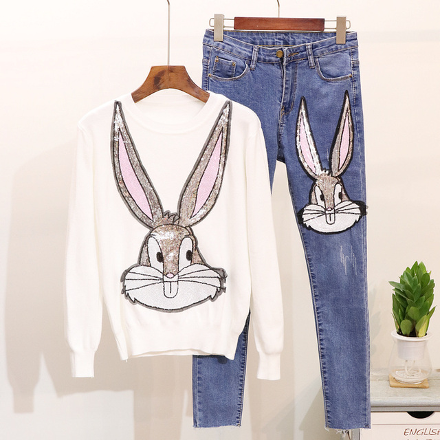2018  Autumn Women's Clothes Sets New Heavy Sequins Rabbit Long Sleeve Sweater + Slim Jeans Suit Girls Lady Two Piece Pants Set