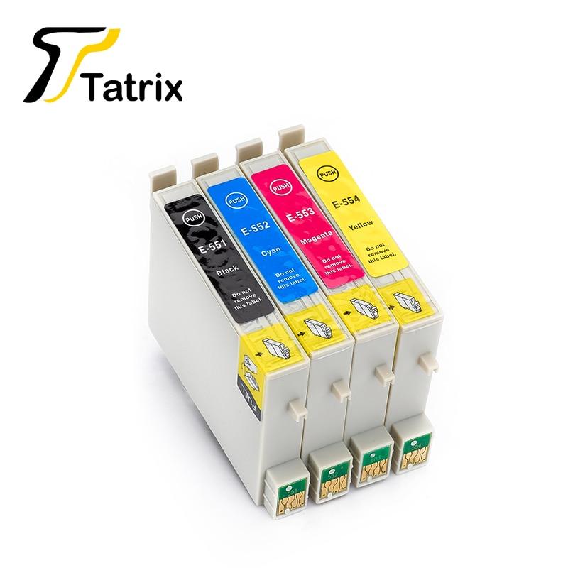 4 Farbe T0551 T0552 T0553 T0554 tintenpatrone T551 Für Epson Stylus Photo...