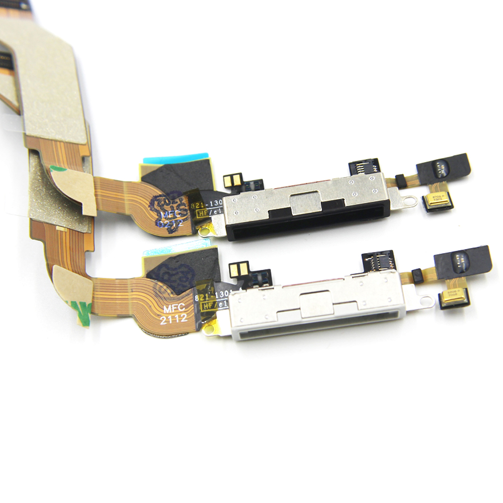 100% Original new WHITE/BLACK for <font><b>iPhone</b></font> <font><b>4S</b></font> <font><b>Dock</b></font> <font><b>Connector</b></font> Charging flex Cable with microphone image