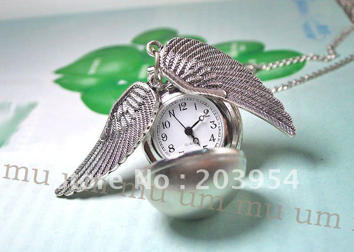 Серебряные 10 шт./партия, винтажные кварцевые карманные часы с шариковыми крыльями для леди, мужские женские ожерелья, кулоны, часы