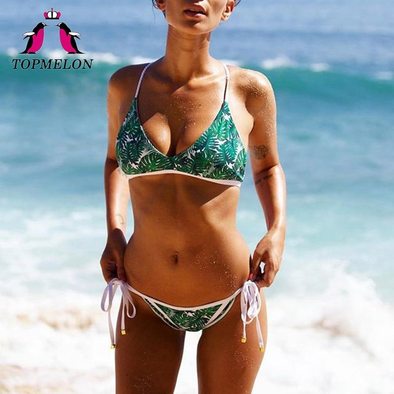 Topmelon Bikini Set Green Leaf Printed 2018 Triangle Bikini Beachwear Femme Maillot De Bain Bathingsuit Women Bikini Set Biquini