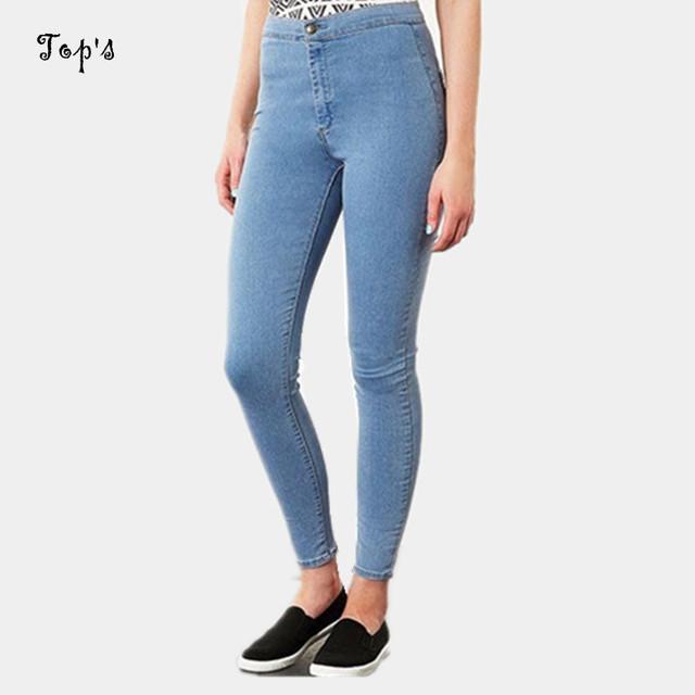 2016 Nueva Llegada Al Por Mayor de Mujer Denim Pantalones Lápiz Top Brand Jeans Stretch Pantalones de Cintura Alta de Las Mujeres Pantalones Vaqueros de Cintura Alta
