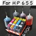 4 шт. Для HP655 HP 655 deskjet 3525 4615 4625 5525 6525 многоразового картридж с чипами