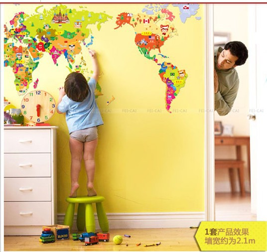 New 2013 Free Shipping Cheap Wall Sticker Cartoon World Map Wallpaper For  Kids Rooms Stickers For