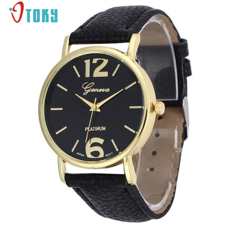 Excellent Quality Geneva Womens Quartz Wrist Watches Leather Analog Quartz Wristwatch Elegant Fashion Bracelet Watches for Gift