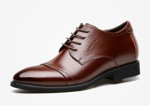 """Image 5 - Cyabmoz חדש גברים עסקי שמלת נעלי גובה הגדלת 6 ס""""מ קלאסי חתונה נעליים רשמיות גברים פרה פיצול עור מעלית נעליים"""
