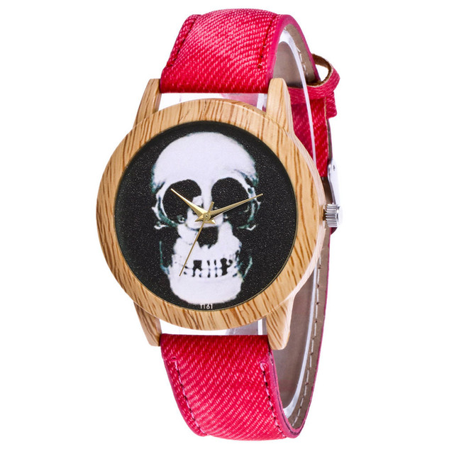 Skull Printed Women's Black Quartz Wristwatches Casual Leather Strap Watchband Analog Quartz Round Watch Vintage Dropshipping 5