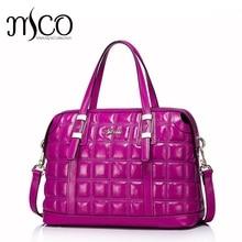 2016 New Fashion Embossed Grid Women's Genuine Leather Tote Bag Top Handle Handbag Ladies Shoulder Bag Crossbody Purse