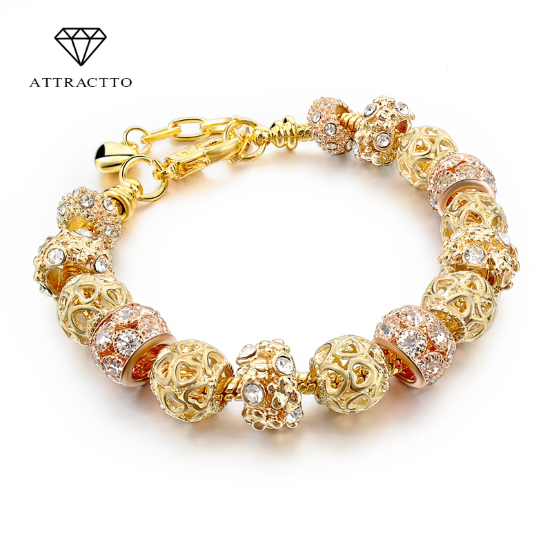 ATTRACTTO 2019 Gold Charm Ապարանջաններ կանանց համար DIY Beads Crystal Bracelets & Bangles Pulsera Fashion Jewelry Bracelets SBR150325