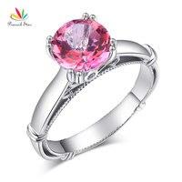Peacock Star 14K White Gold Wedding Engagement Ring 2 Ct Pink Topaz 0 02 CT Natural