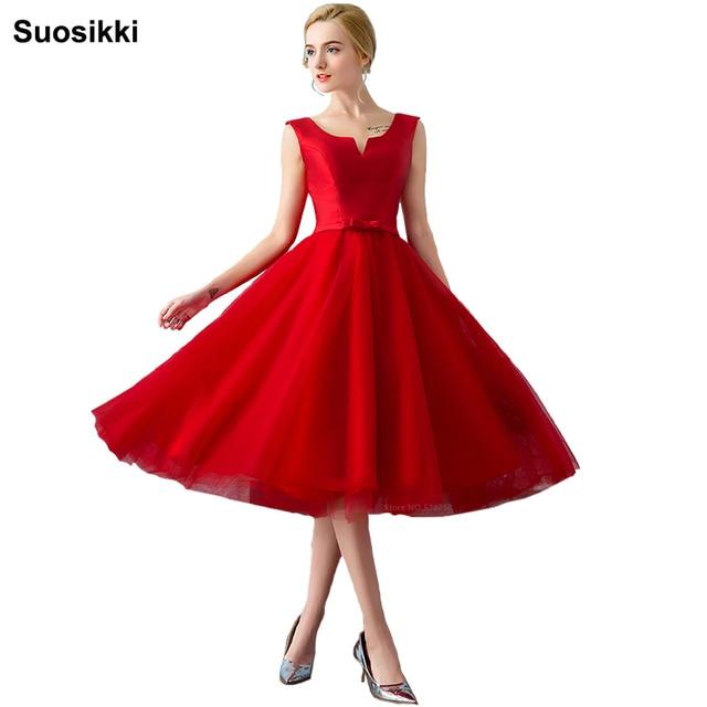 2018 הגעה לניו אלגנטית סאטן המפלגה שמלת Vestido דה Festa אונליין שמלת קשת טול קצר שמלות לנשף אדום הערב רשמי שמלת
