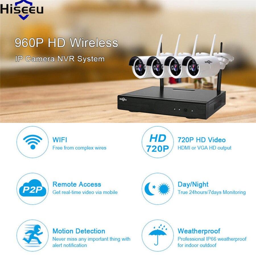 Hiseeu Wireless NVR IP Camera 4CH Powerful Wifi NVR 960P Wireless CCTV System Home Security System