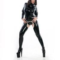 Девушки латекс облегающий костюм латекс с вырезами комбинезон сексуальные латекса комбинезон Zentai с открытой промежностью сзади на молнии (