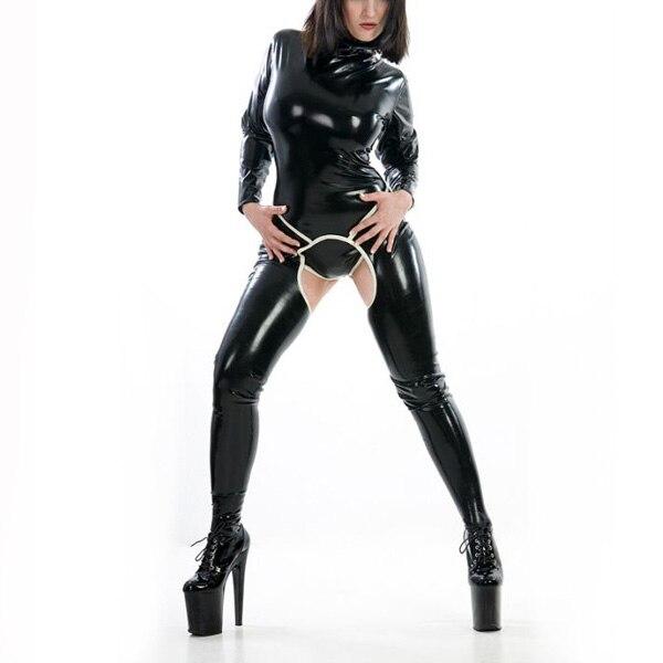Combinaison de corps en Latex pour fille Catsuit sans entrejambe en Latex Sexy combinaison en caoutchouc Zentai avec entrejambe ouverte dos zippé (pas de chaussette)