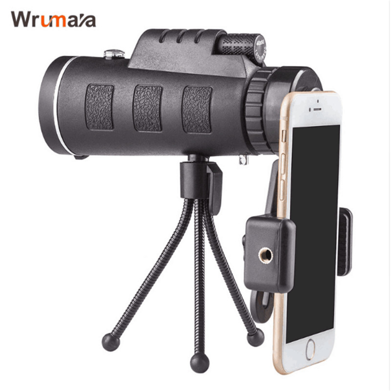 WRUMAVA 40x60 HD Zoom Optical High Power Magnification Monocular Scope Telescope Phone lens kit and Tripod For iphone Samsung