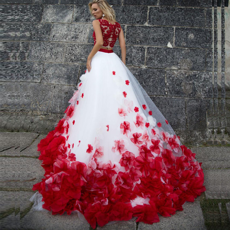 3d Flower Bohemia White Red Lace Tank Wedding Dresses Beach Two