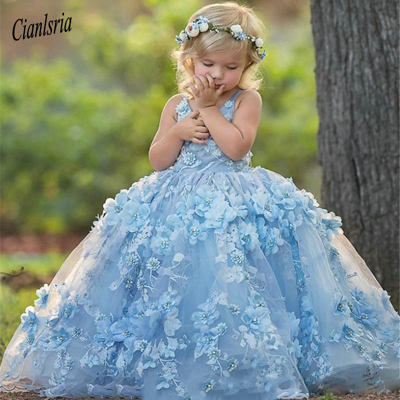 Cute Blue Spaghetti Straps   Flower     Girls     Dresses   Lace Appliques with 3D   Flower   Bead Toddler Communion   Dress   Puffy Kid Prom Gowns