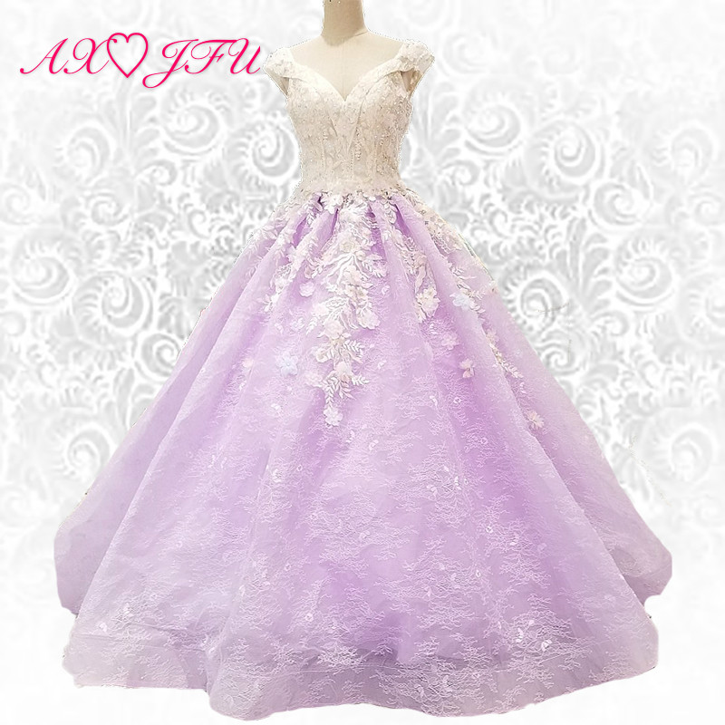 AXJFU Princess purple lace beading crystal flower evening dress sweetheart illusion turkey evening dress 012550