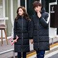 Para baixo acolchoado Inverno 2016 casal algodão misturado casaco de zíper dos homens longo casaco grosso casual tamanho Asiático 3XL dos homens roupas, EDA130