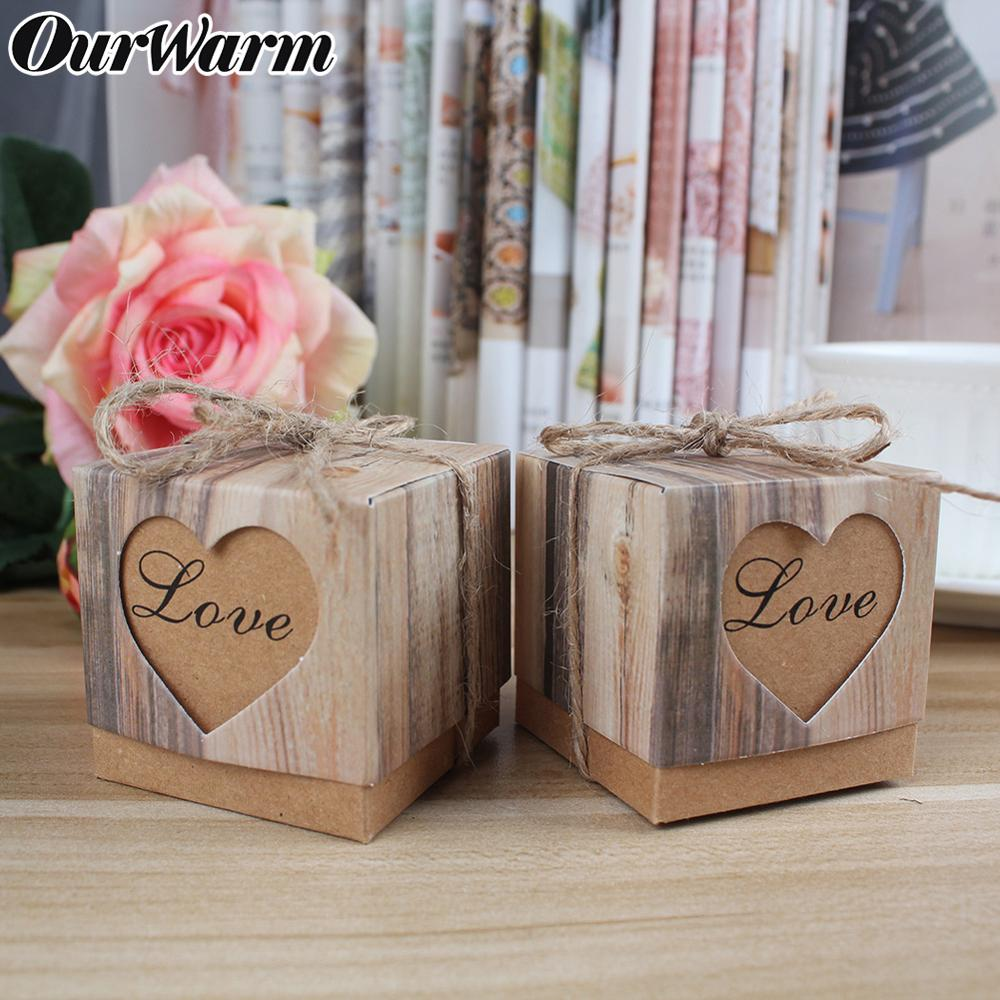 OurWarm 50PCS Kraft Paper Candy Gift Box Love Heart Design Burlap Vintage Gift Box For Guest Wedding Souvenirs Party Decoration